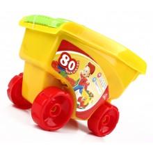 Kolorowe klocki w wózku na kółkach - 80 szt.