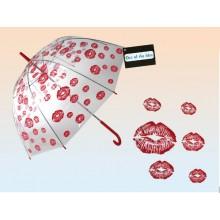 Parasol przezroczysty usta - duża otwierana ręcznie parasolka z całusami