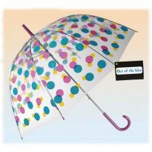 Parasol przezroczysty kolorowe kropki- duża otwierana ręcznie parasolka