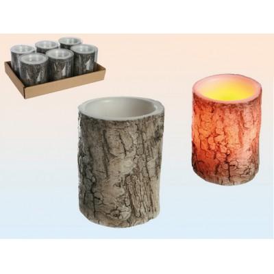 Elektroniczna Świeczka LED Pieniek Drewna